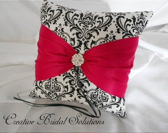 Black and White Madison Damask with Cerise Pink Wedding Ring Bearer Pillow