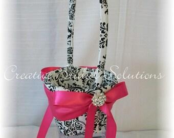 Black and White Madison Damask with Fuchsia Pink Wedding Flower Girl Basket, Wedding Basket, Flower Basket, Pink Basket, Black Flower Basket