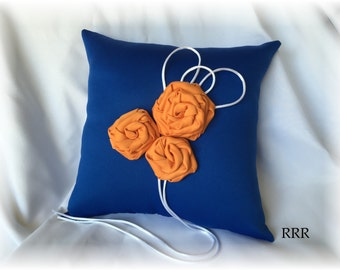 Royal Blue and Orange Wedding Ring Bearer Pillow, Blue Ring Pillow, Orange Ring Pillow, Floral Ring Pillow, Blue Wedding Pillow