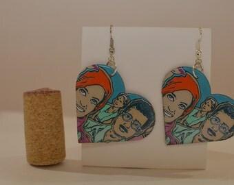 Large heart earrings made from 'Peace Tea' aluminum can