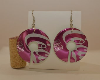 """Almost Circle earrings made from """"Cherry Coke"""" can"""