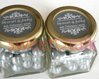 Wedding Favour Bomboniere - Chocolates Candy Jar with Jewel Heart Charm