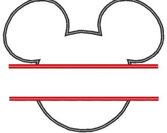 Split Mickey Mouse Applique Embroidery Design.  2 Large Sizes