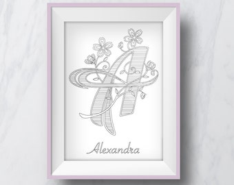 Personolised Letter Coloring Pages - Downloadable PDF of the letter and a name of your choosing