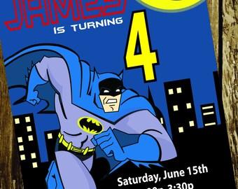 Batman Superhero Boys Birthday Invitation