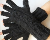 Oversized Unisex KNITTED GLOVES / Half Fingers Mittens Cabled Romantic Arm Warm Accessories Elegant Feminine Wrist Warmers Winter Chic 182