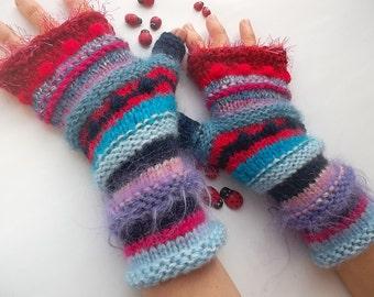 Women Size M 20% OFF Bohemian OOAK Fingerless Boho Mittens Gloves Romantic Striped Warm Accessories Hand Knitted Wrist Warmers Winter 1077