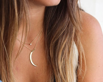 MOON NECKLACE, gold necklace, gold moon, tiny necklace
