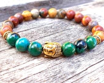 Buddha Bracelet, Buddhist Prayer Beads Bracelet, Wrist Mala, Yoga Bracelet, Healing Jewelry, Meditation Beads, Picasso Jasper, Chrysocolla