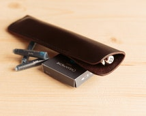 Leather Pen Case. Fountain Pen Case In Hand Stitched Dark Brown Leather.