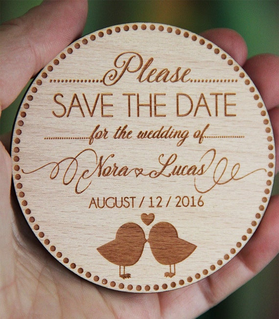 Wooden Save The Date Magnet Wood Wedding Save The Dates Fridge Magnets ...