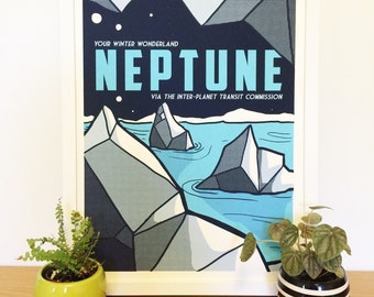 Neptune: Your Winter Wonderland - Vintage Space Travel Poster
