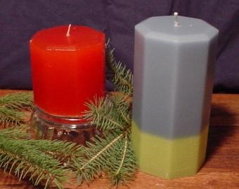 Homemade pair (2) of octagon shaped pillar candles