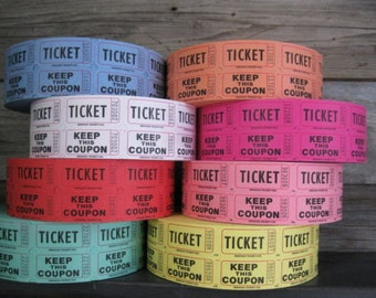 Ticket Stubs, Roll Fair Carnival Raffle Tickets, 1000 Count Color Party Tear Ticket FREE US Shipping