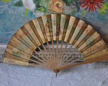 Antique French Golden Fan, Vintage French Hand Held Fan, Vintage Lithograph Paper Fan, Gold Home Decor, Boudoir Decor, Made in France