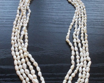 Lake pearl necklace  in 5 lines extra quality and vintage great gift for her