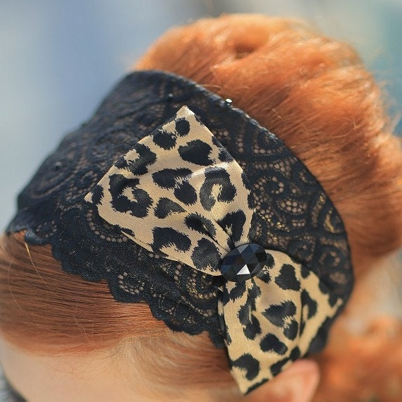 Lace Animal Print Headband,Women's Church Hair Piece,Cheetah Bow Tie,Ready To Ship,Gift Grandmother,Christmas, Bad Hair Weekend Hair,Cosplay