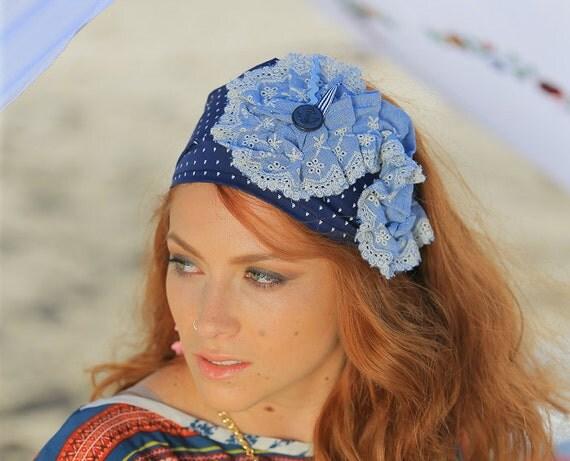 Denim Headband | Boat Fashion | Nautical Theme Hairband | Woman Sailor Head Cover | Trendy Gift Her | Navy Blue Jean Turban | Anchor Button