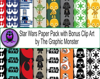 Star Wars Digital Download, StarWars Paper, Scrapbook Paper Star Wars, Star Wars Scrapbook Paper, Disney Paper, Star Wars Instant Download
