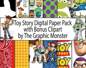 Toy Story Digital Paper, Disney Scrapbook Paper, Scrapbook Paper, Instant Download, Digital, Toy Story Scrapbook, Toy Story Paper