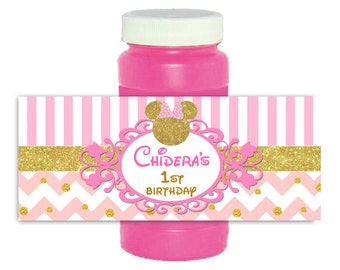Minnie Mouse pink and gold Bubble Bottle Labels Wrappers Stickers