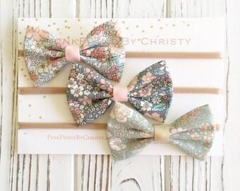 Baby girl headband set-small hairbow set -fabric bows -baby girl gift- hairbows - hairbow set -baby girl headband-hairbow- tuxedo bow set