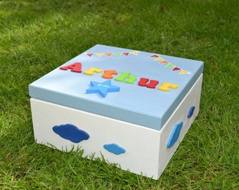 Large Childrens Keepsake, Memory Box, Childrens firsts New Baby keepsake box Boys Girls Christening adoption gift