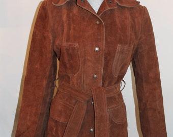 Beautiful Vintage Brown Suede Ladies Trench Jacket with Belt