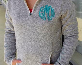 Monogrammed Heathered Fleece 1/4 Zip Women's Sweatshirt