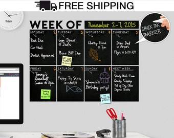"Modern Chalkboard Weekly "" Week Of "" Wall Calendar, Blackboard / Chalkboard Decal, Chalkboard Calendar, Weekly Calendar - A Todeco Product"