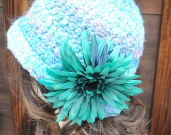 Handmade Crochet Vintage Style Varigated Green Cloche Bucket Hat with flower  size 22