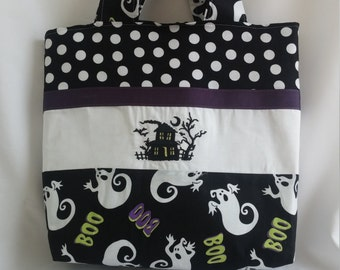 Trick or Treat Bag * Halloween Bag * Halloween Tote * Haunted House Tote Bag * Haunted House Trick or Treat Bag * Halloween Purse *