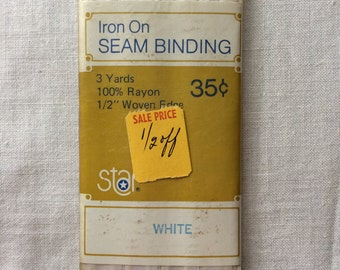 "Vintage New White Seam Binding Trim 1/2"" wide x 3 yards long by Star 100% Rayon"