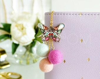 Peach Pom Felt Pom Planner Charm (Specialty)-Butterfly Kisses