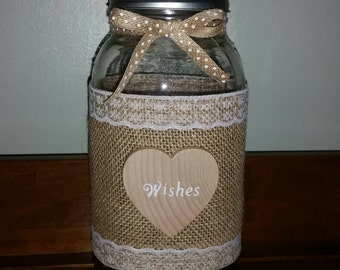 Burlap & Lace Mason Jar Centerpiece