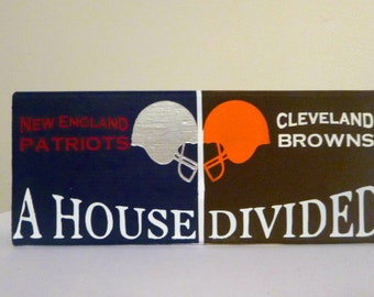 House Divided 9 inch painted wooden block