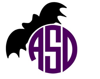 Halloween Bat Monogram Decal