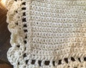 Crochet Baby Blanket - Off-white