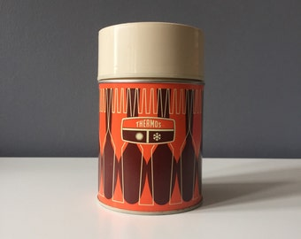 Vintage Orange and Brown 'Fork & Spoon' 1971 King-Seeley Thermos Co. Bottle No. 7063 10 Oz. Hot/Cold