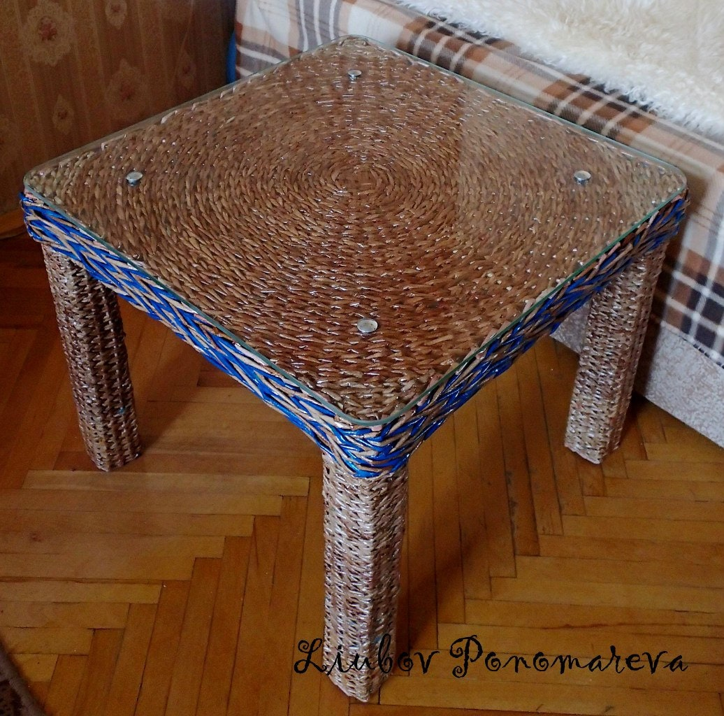 Exclusive coffee table handmade vine woven from paper tubes Exclusive coffee tables