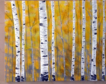 Dreaming of Aspens, Yellow trees, original acrylic painting, signed by artist