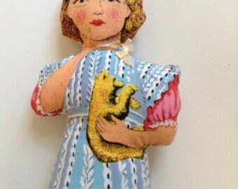1950's printed fabric Rag Doll
