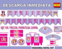 Party kit SOPHIA THE FIRST, Party Kit Printables Instant Download in Spanish
