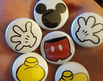 """Mickey Mouse Body Parts Pin buttons set 1"""""""