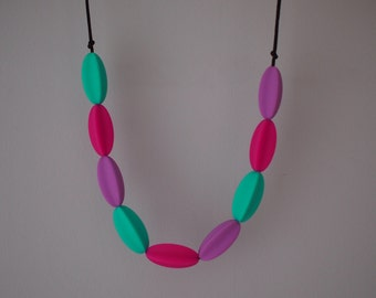 Olivia in Purple, Turquoise & Pink - silicone teething, breastfeeding, baby wearing, nursing, teether necklace