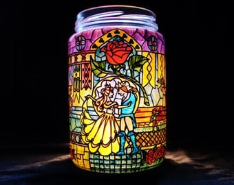 Beauty and the Beast Stained Glass Candle Jar