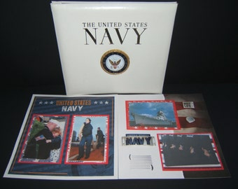 Military Scrapbook Album - Fathers Day Gift - Navy scrapbook album - Military Graduation - Premade Navy Scrapbook Album - Military Gifts