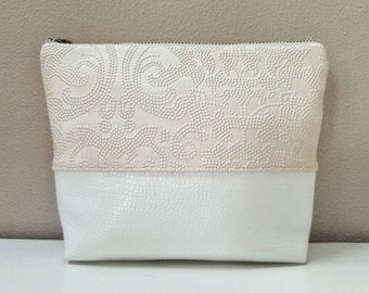 Faux Leather Cosmetic & Toiletry Bag - Blush Damask Embossed Faux Leather, Off-White  Faux Leather, Matte Satin Lining