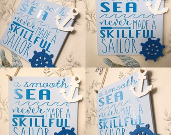 Bathroom wall plaque sailer/sea quote wooden plaque hanging beautuful blue