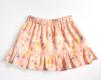 Baby and Toddler Skirt, Gathered Cotton Printed Skirt with Ruffle, Peach Geometric